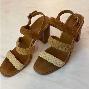 Frye Amy Leather Triple Strap braided sandals